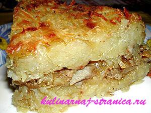 картофельная бабка с фаршем