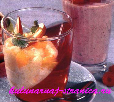 Фруктовый йогурт на желе и напиток бодрости.